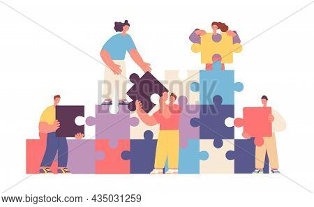 Business People Collaboration. Puzzle Communication, Collaborated Abstract Metaphor. Technology Work