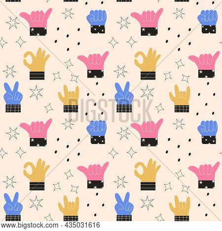 Seamless Pattern Of Colorful Abstract Hands In Different Gestures Emotions And Signs. Modern Vector