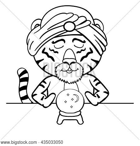 Indian Tiger In Turban, Predicts The Future By Ball Vector Clip Art Illustration Page Coloring