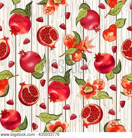 Ripe Pomegranates On A Wooden Background.whole And Cut Ripe Pomegranates On A Wooden Background In A