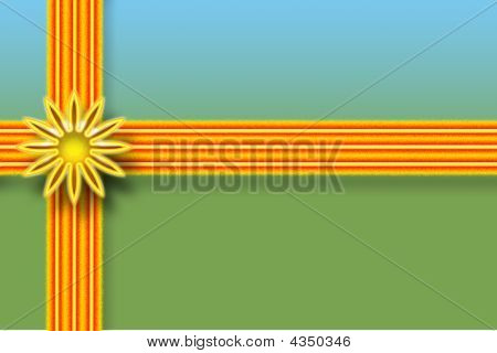 Gift wrapped box with orange ribbons and flower bow. poster