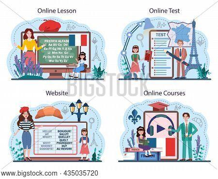 French Online Service Or Platform Set. Language School French