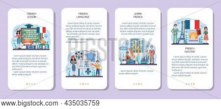French Language Concept Set. Language School French Course. Study Foreign