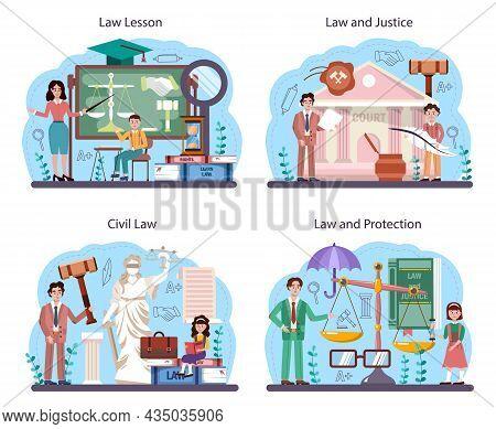 Law Class Concept Set. Punishment And Judgement Education. Jurisprudence