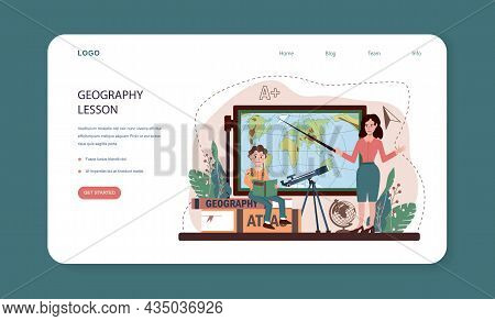 Geography Class Web Banner Or Landing Page. Students Learning The Lands