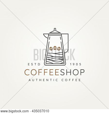 Coffee Shop With Kettle And Bean Minimalist Line Art Logo Icon Vector Illustration Design. Simple Mo