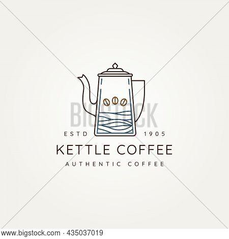 Coffee Kettle Minimalist Line Art Logo Icon Vector Illustration Design. Simple Modern Coffee Shop, R