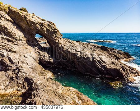 Spanish Rocky Coastline. Mediterranean Region Of Villaricos, Almeria, Eastern Andalusia.