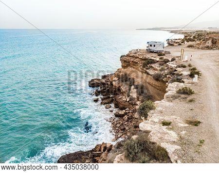 Caravan Camping On Cliff Sea Shore. Mediterranean Region Of Mazarron, Sierra De Las Moreras In Murci