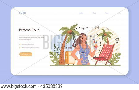 Tourism Expert Web Banner Or Landing Page. Agent Creating And Selling