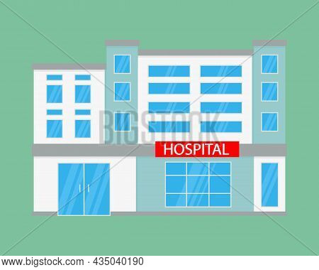 Hospital Building In Flat Style. Medicine, Hospital And Medical Care. Ambulance. Vector Illustration