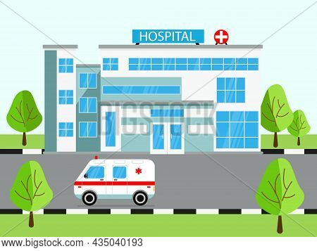 Medical Concept With Hospital Building And Ambulance In Flat Style. Panoramic Background With Hospit