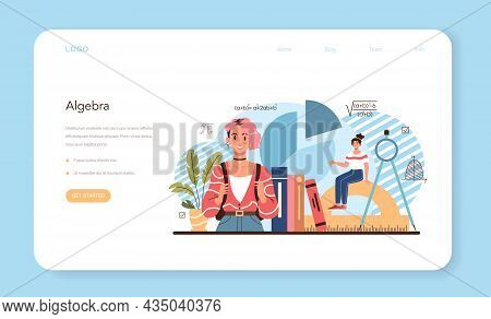 Math School Subject Web Banner Or Landing Page. Students Studying