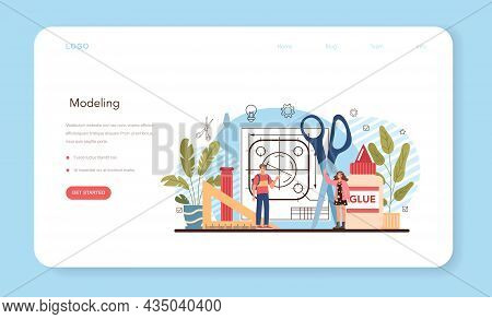 Crafting And Modeling School Course Web Banner Or Landing Page.