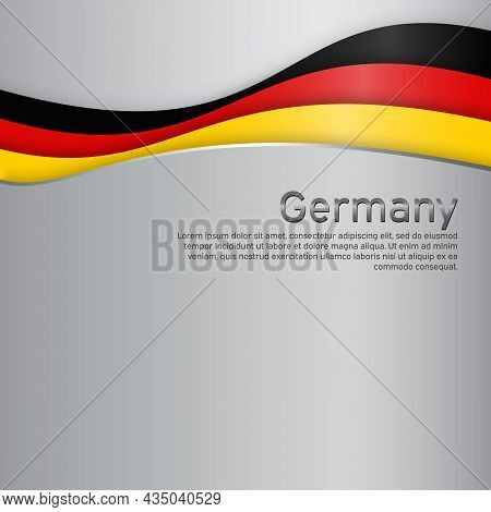 Abstract Waving Germany Flag. Paper Cut Style. Creative Metal Background For Design Of Patriotic Hol