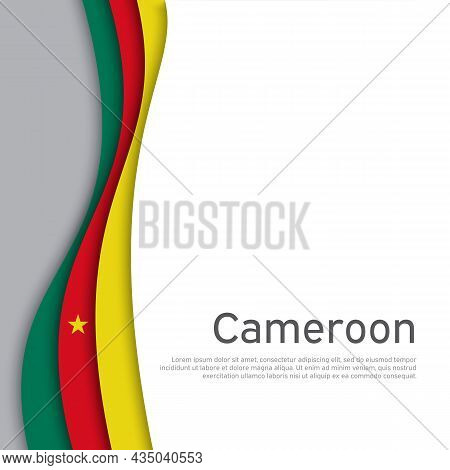 Abstract Waving Cameroon Flag. Paper Cut Style. Creative Background For Patriotic, Festive Card Desi
