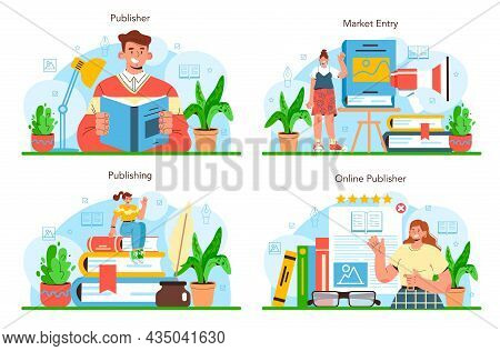 Publisher Concept Set. Editor Working On Book, Newspaper And Magazine