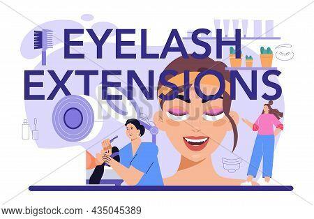 Eyelash Extension Typographic Header. Eyelashes Volume Correction