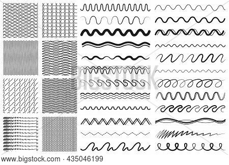 Wave Lines. Drawing Line, Dividers Or Decorative Ornaments. Zigzag Seamless Pattern Collection, Elem