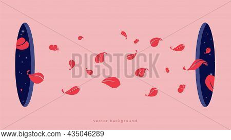 Leaves Flying From Holes. Modern Abstract Artwork With Two Windows In Universe And Leaf, Vector Cont