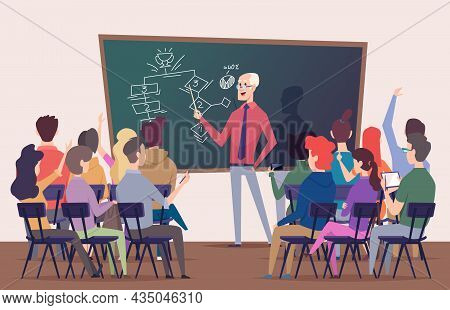 Students Lecture. Training Characters Sitting On Chairs Talk In Auditorium Business Training Profess