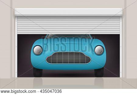 Car In Garage. Roller Doors At Parking Gates Front View Automobile Decent Vector Realistic Illustrat