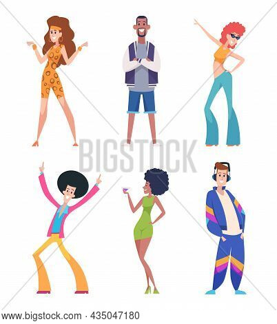 80s People. Old Style Persons In Casual Colored Clothes Outfit Characters Man And Women Exact Vector