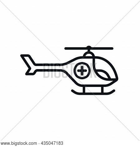 Helicopter Ambulance Outline Symbol On White Background. Emergency Medical Air Vehicle Vector Design