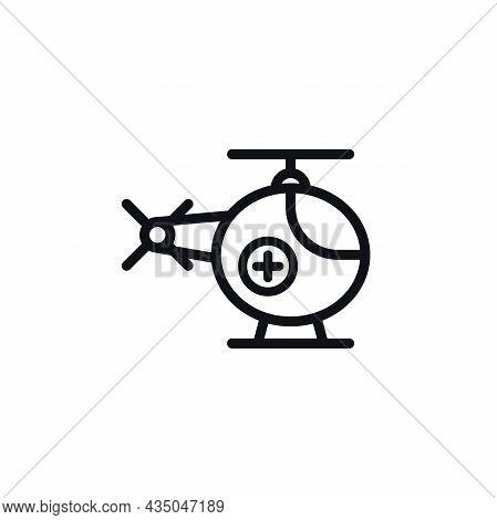 Minimal Ambulance Helicopter Symbol On White Background. Medical Air Vehicle Vector Design.