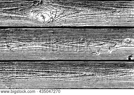 Vector Wood Plank Texture With Veins, Black And White Texture, Vector Textured Background