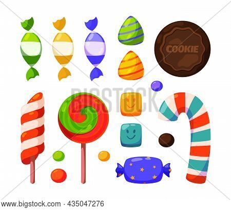 Candy. Dulce Collection Sweets For Birthday Celebration Lollipop Jelly Candy Garish Vector Cartoon I