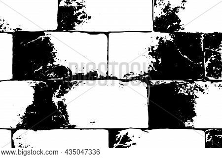 Vector Texture Brick Wall, Black And White Texture Large Brick, Vector Textured Background