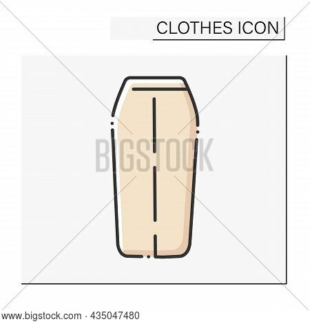 Fashion Color Icon. Casual Midi Skirt. Shopping.clothes Concept. Isolated Vector Illustration