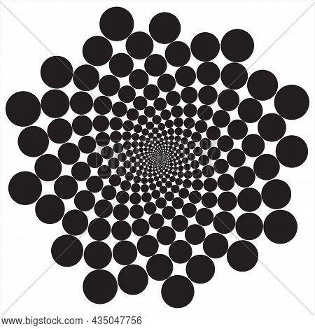 Circle Repeated In Fibonacci Pattern. Circle Placed In Fibonacci Pattern 001