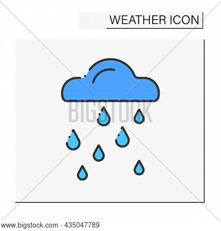 Heavy Rain Color Icon. Weather Forecast. Cloud With Raindrops. Rainfall.weather Concept. Isolated Ve