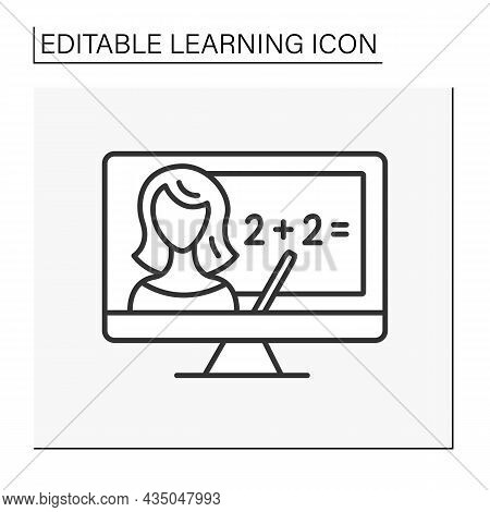 Math Line Icon. Online Mathematics Lesson. Remote Education. Learning Concept. Isolated Vector Illus