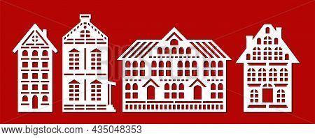 Set Of Silhouettes Of Flat Houses. Facades Of Various Buildings, Houses, Cottages, Townhouses. Many
