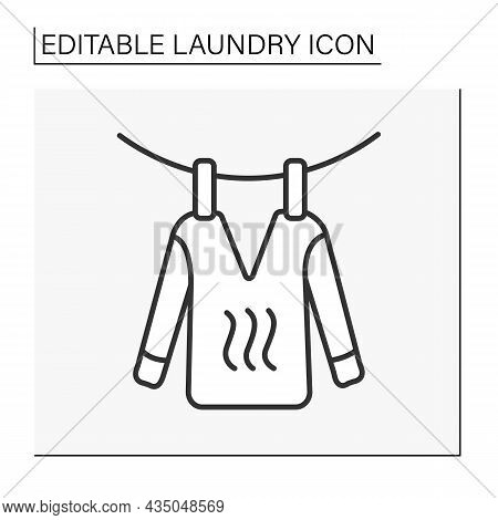 Householding Line Icon. Hanging Out Clothes. Dryer. Laundry Service Concept. Isolated Vector Illustr