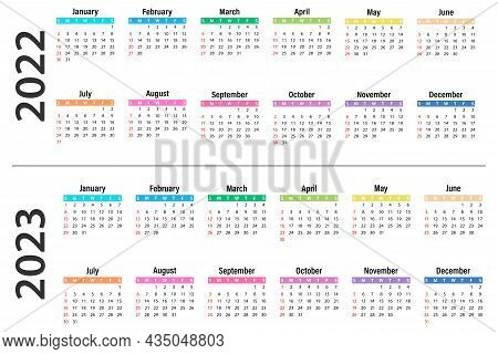 Calendar Template 2022 And 2023. Calendar Design In Different Colors