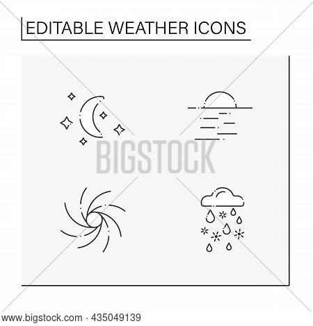 Weather Line Icons Set. Clear Night, Starry Night With Moon, Hurricane, Sleet. Meteorology Concept.