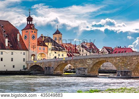 Stone Bridge And Regensburg Bridge Tower, Regensburg, Eastern Bavaria, Germany