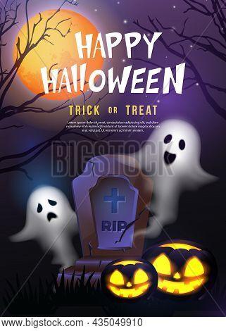Happy Halloween Gravestone Spirit Ghost And Scary Jack Lantern With Purple Tone Full Moon Night Back