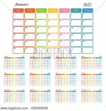 Calendar Template For 2022. A Minimalist-style Diary. A Colorful Calendar For 2022 With A Minimal Ta