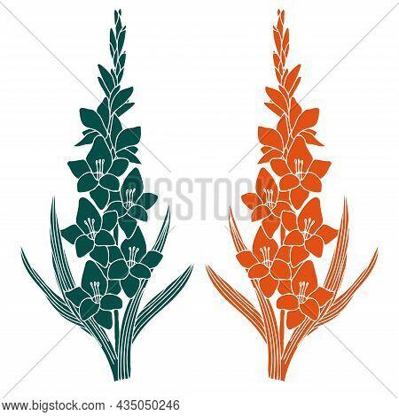 Gladiolus Flower, Imprint In Green And Orange Vibrant Colors