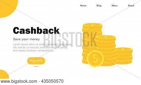 Cashback. Save Savings. Financial Benefit. Horizontal Banner, Poster, Header For Website. Vector Ill