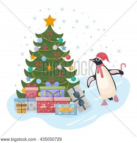 Cute Christmas Illustration With A Picture Of A Christmas Tree With Gifts, And A Cute Penguin Dancin