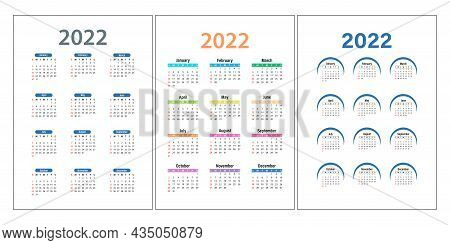 Calendar Template For 2022 And 2023. Calendar Design In Different Colors, Holidays In Red Tones. Wal