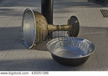 Copper Vessels Used For Baptism In The Orthodox Christian Church, Residential District Drujba, Sofia