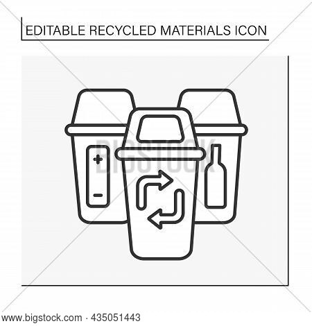 Waste Sorting Line Icon. Sorting Plastic, Glass And Battery. Recycled Materials Concept. Isolated Ve