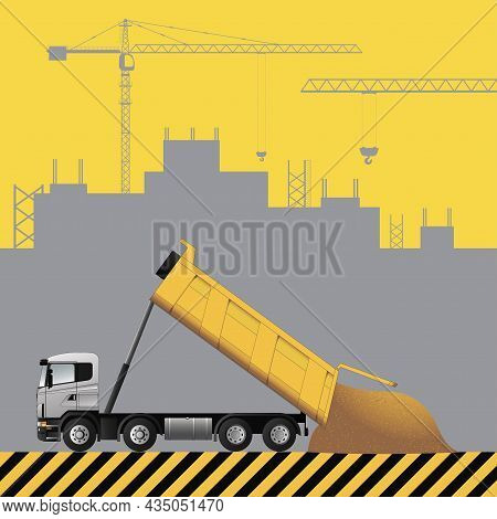 Dump Truck. Construction Machinery On The Background Of A Building Under Construction. Flat Vector I